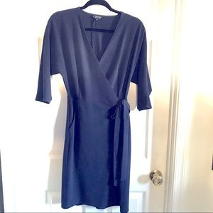 Topshop navy wrap 3/4 sleeve dress in size 2.